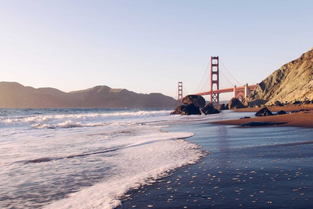 A view of Golden Gate Bridge from the beach
