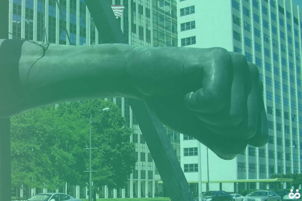 The Monument to Joe Louis (a.k.a. The Fist). Workit Health Michigan startup