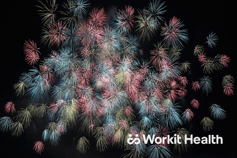 A black sky filled with colorful fireworks