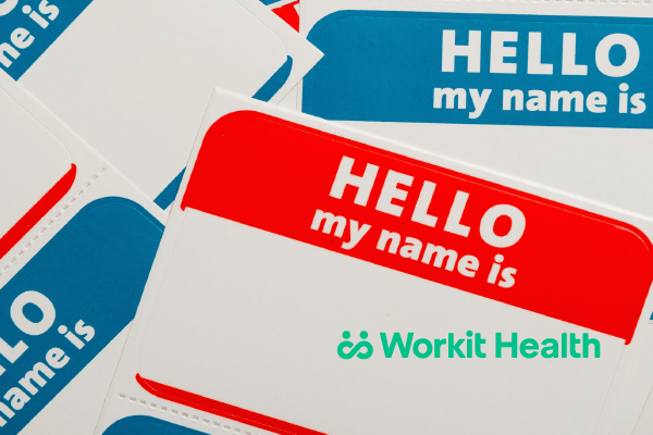 "A stack of ""Hello My Name Is ..."" nametag stickers"