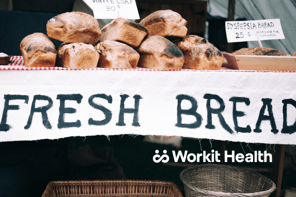 Fresh bread being sold at a bake sale. healthy carbohydrates
