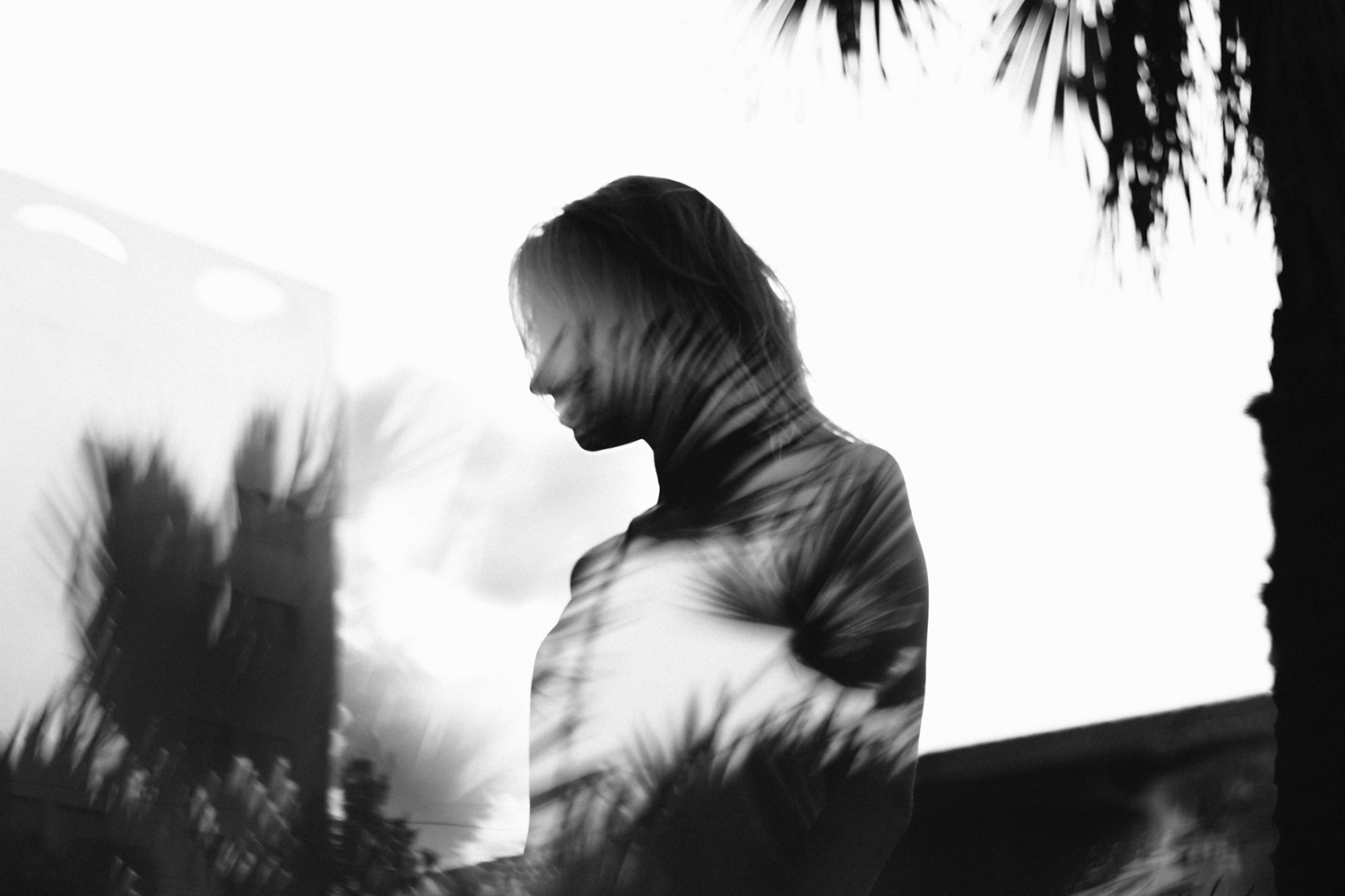 a double exposure image of palm tree shadows over the silhouette of a woman. The image is black and white.