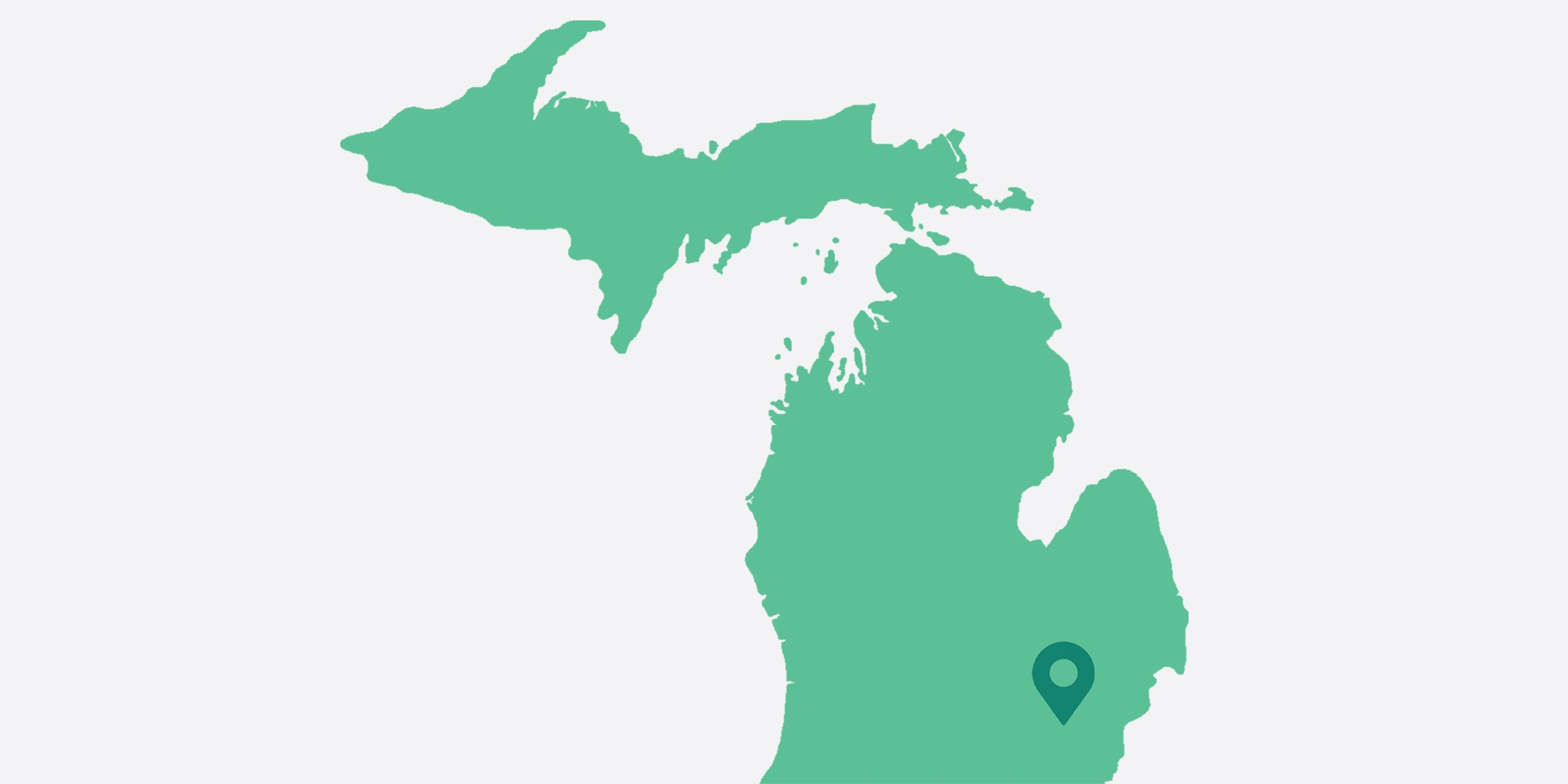 Map of Michigan with a pin in the Ann Arbor location of the Workit Health Clinic