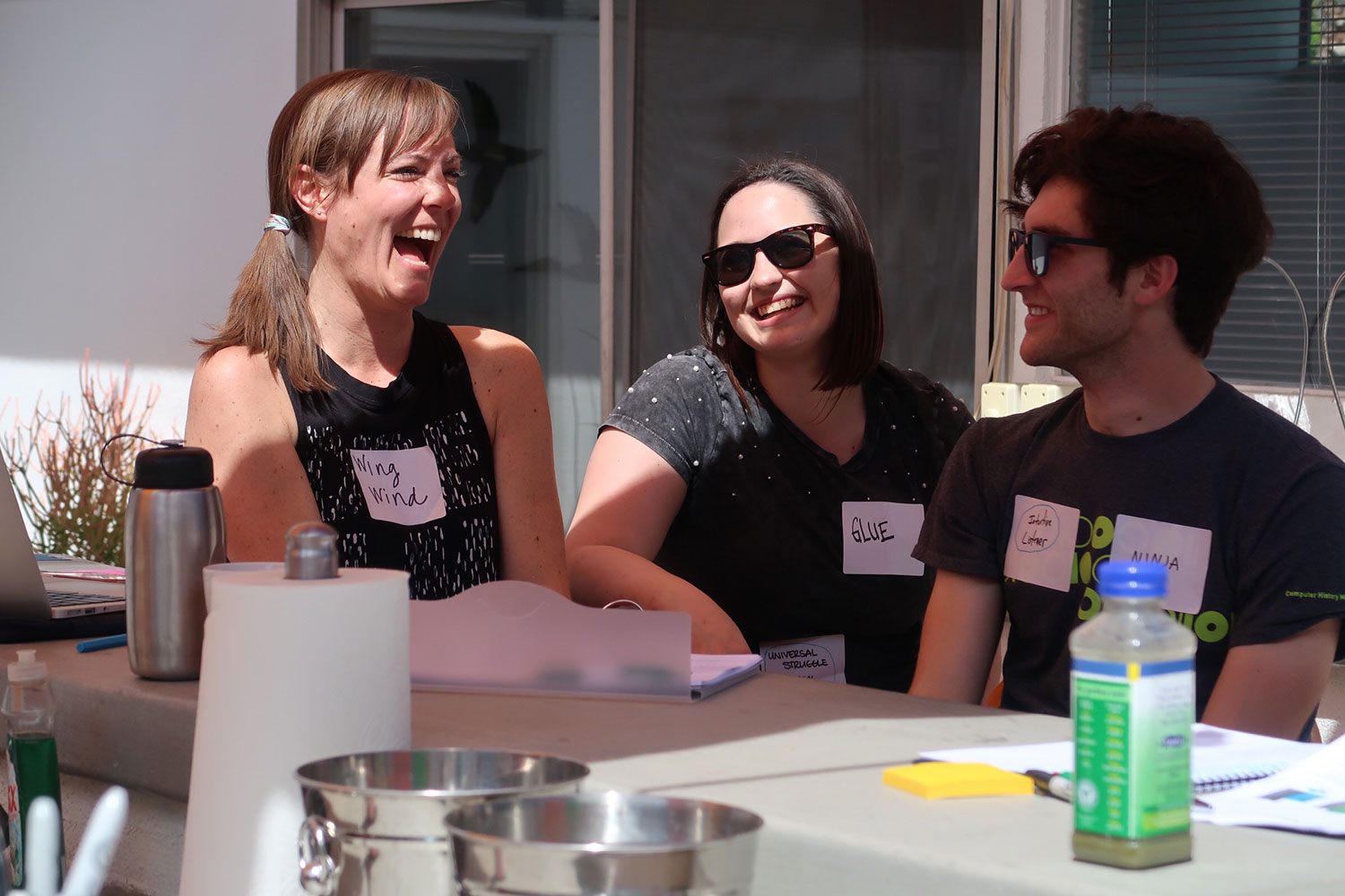 Workit Health's Ann Arbor team for Suboxone treatment, laughing at an outdoor teambuilding event
