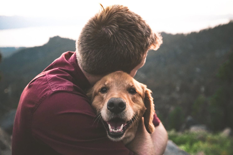 Man hugging a dog. Mental Health Awareness