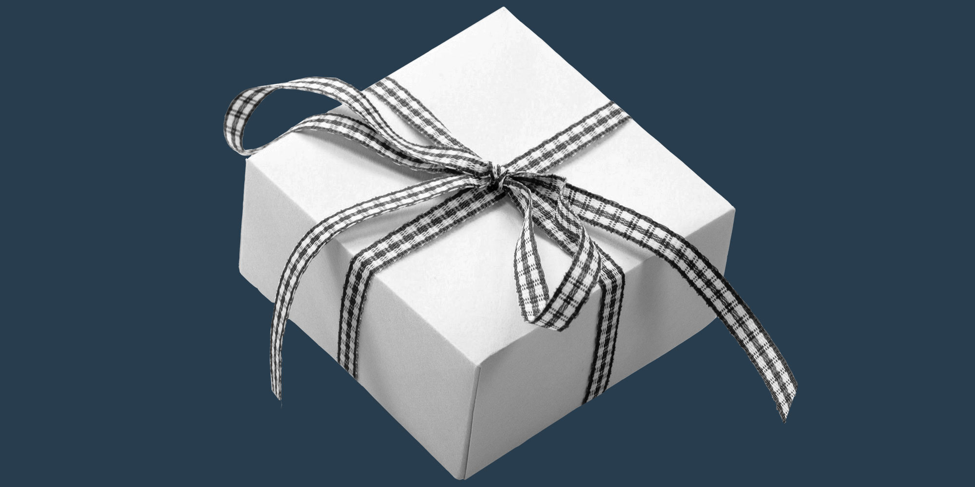 Wrapped gift with a gingham bow