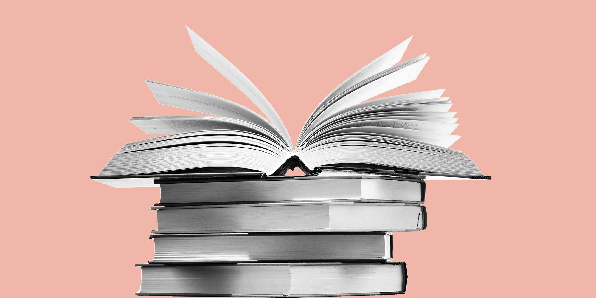 Stack of books on an peach background. College students in recovery