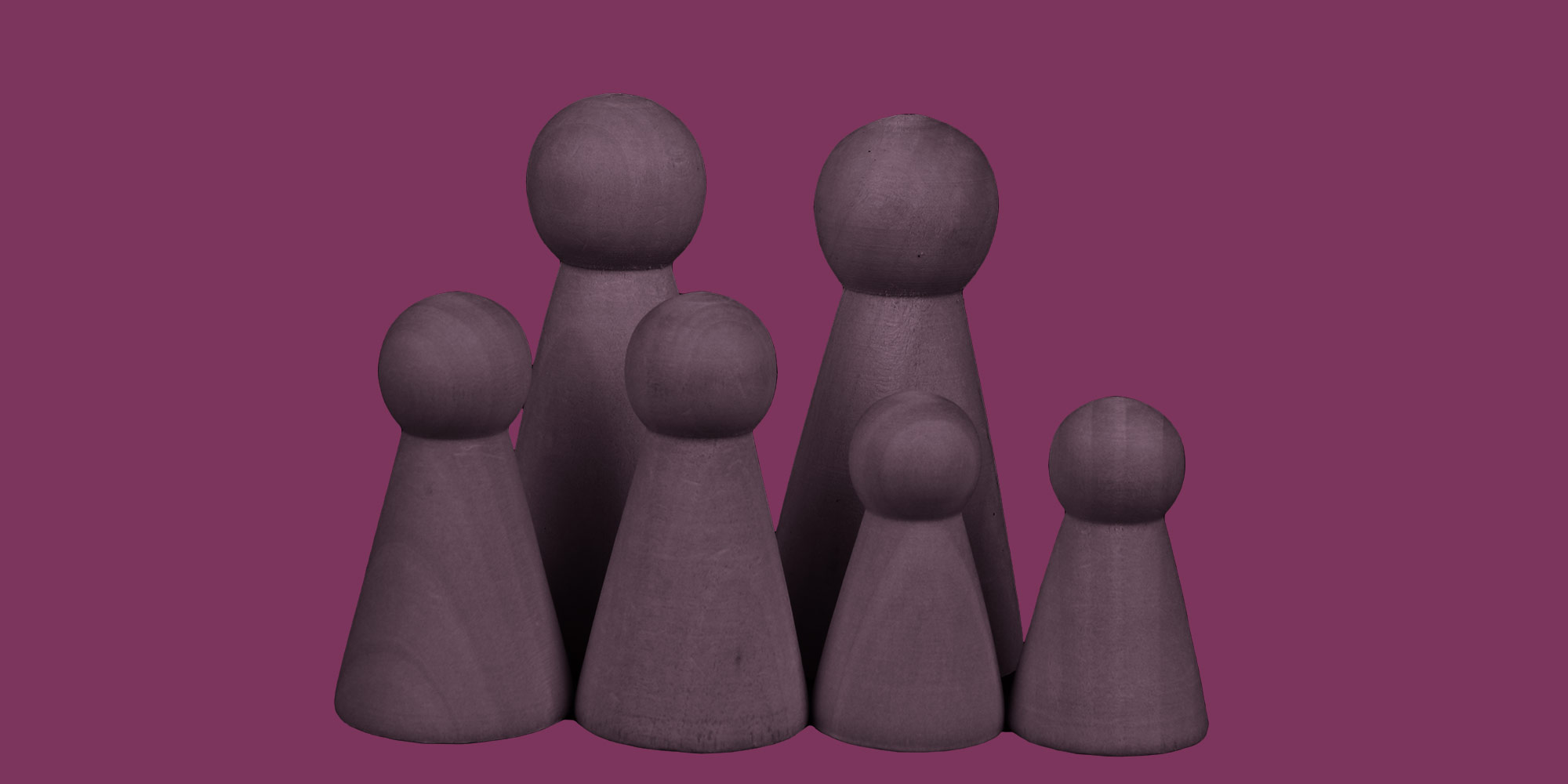 Family of wooden peg people