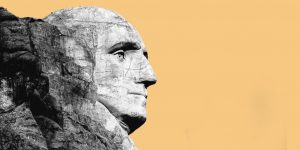 The carving of George Washington's head on Mount Rushmore
