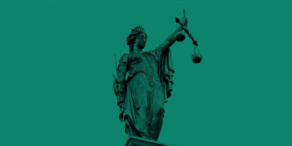 Statue of blind justice. Carolina drug bust