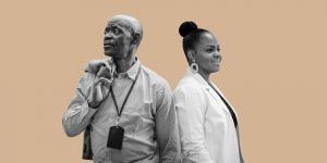 A black man facing left and a black woman in a lab coat facing right. Honoring the forgotten
