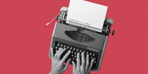 Typewriter on a red background. Suboxone is sober.