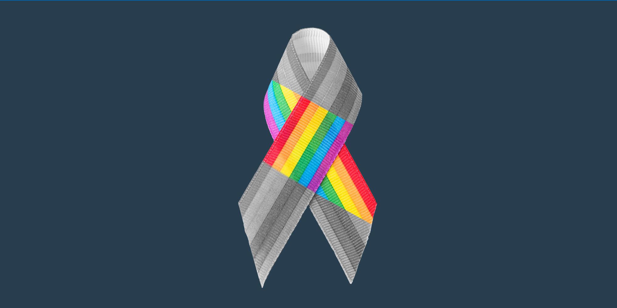A rainbow ribbon. Recovery resources for the LGBTQIA community
