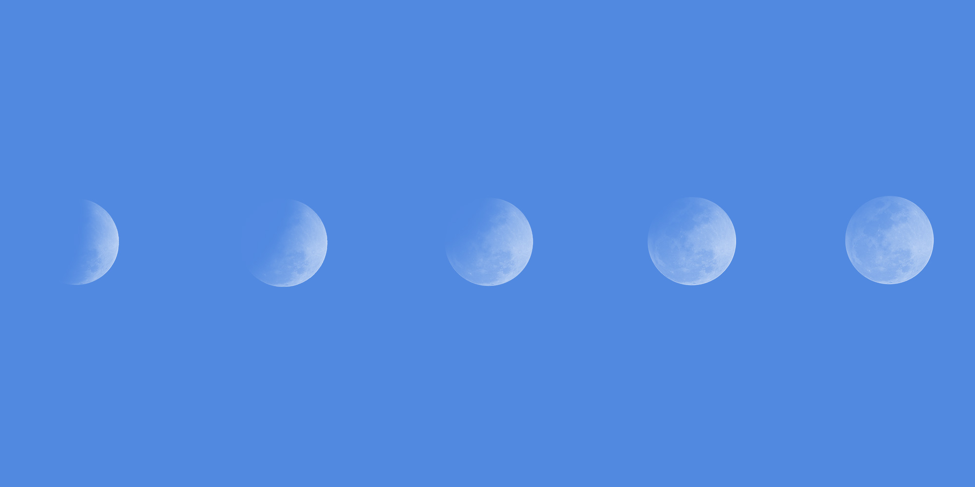 Phases of the moon on a blue background. Recovery evolves