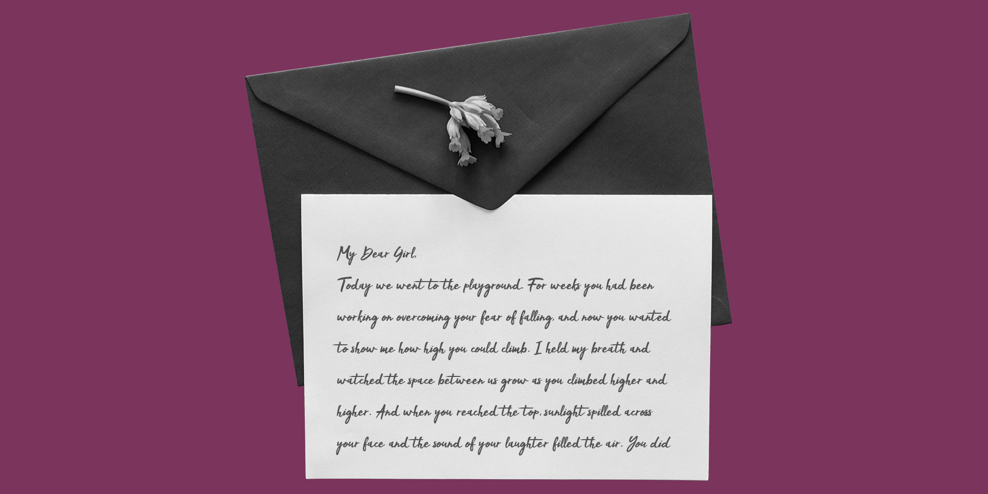 Envelope and letter on purple background. Recovery Through my lens